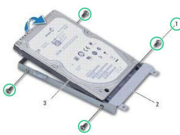 Remove the four screws that secure the hard drive to the hard drive bracket.