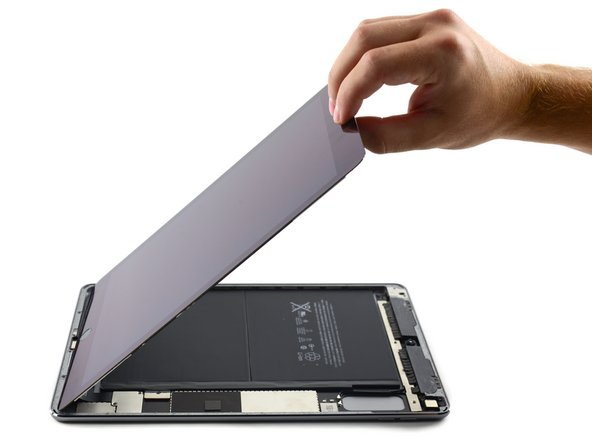 Keep lifting until the display assembly is roughly perpendicular to the body of the iPad.