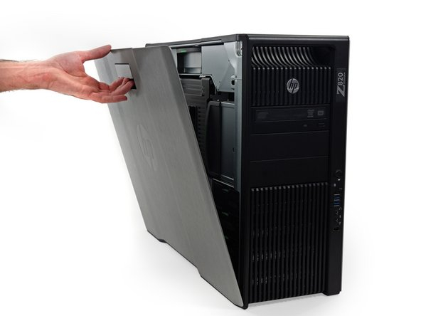 Flip this, pull that, open it right up, the Z820's side panel pops off with the greatest of ease.