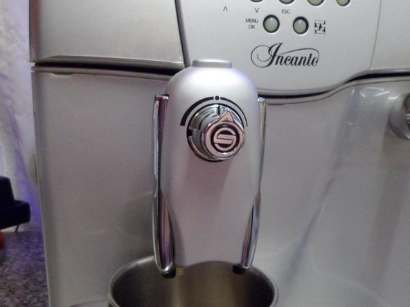 Remove the spout by pressing the button on top and sliding it towards you.