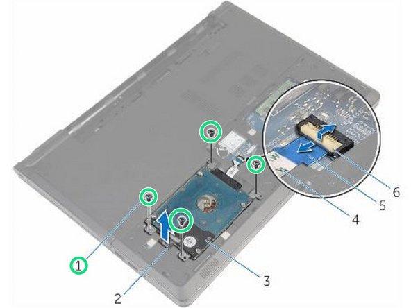 Retire los cuatro tornillos (M2.5x8) que aseguran el ensamblaje del disco duro a la base de la computadora.