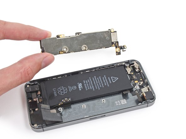 Image 2/2: Remove the logic board from the iPhone.