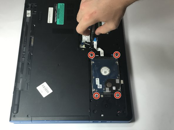 Use a Phillips #0 screwdriver to remove the four 8mm screws which secure the hard drive assembly to the laptop.