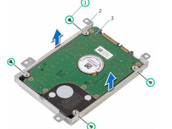 Remove the screws that secure the hard-drive bracket to the hard drive and lift the hard-drive bracket off the hard drive.