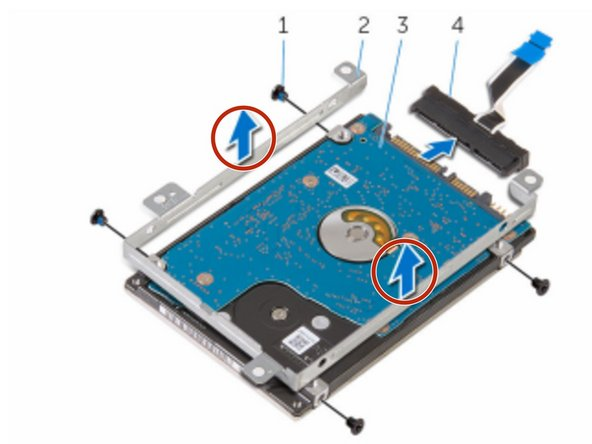 Lift the hard-drive bracket off the hard drive.
