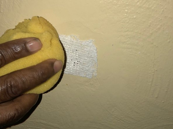 Use a damp sponge to apply moisture to make the mesh stick to the wall, covering the entire hole.