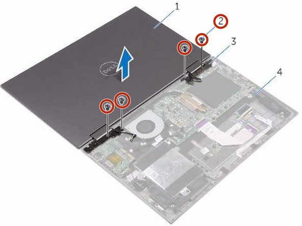 Replace the four screws (M2.5x2.5) that secure the display assembly to the palm-rest assembly.