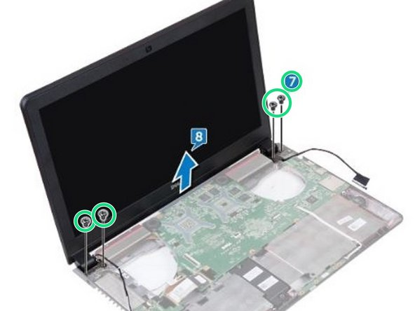 Remove the four screws (M2x5) that secure the display assembly to the computer base.