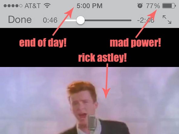 Rick Astley after battery replacements