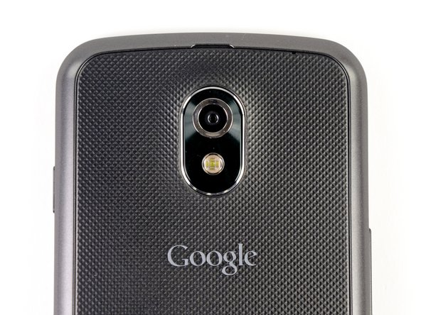 Like most of Samsung's smartphones, the Galaxy Nexus' 5.0 megapixel camera is perched in the middle of the phone's backside.