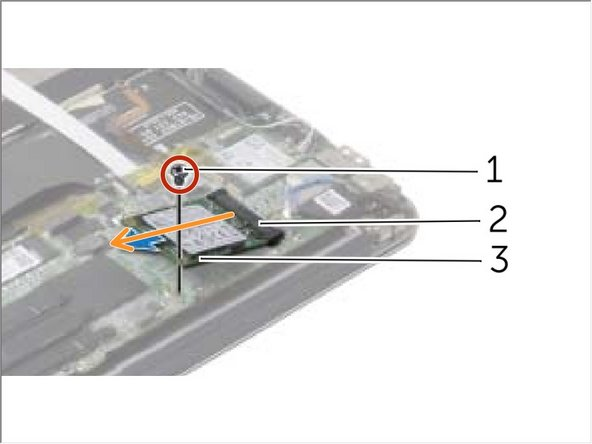 Remove the screw that secures the solid-state drive to the system board.