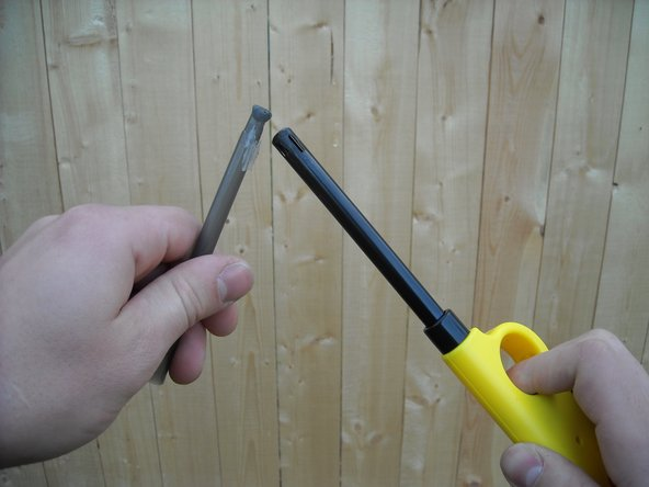 Image 1/1: You will need a kitchen lighter and a plastic pen shell, and you will want to do this outdoors to allow the plastic the burn into the air instead of trapping it in a room. Heat the tip of the empty pen shell until it melts into a glob.