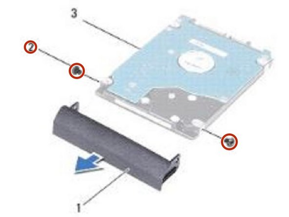 Remove the two screws that secure the hard-drive bezel to the hard drive.
