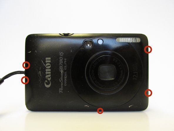 Remove the five outermost Phillips  #00 screws from the camera.