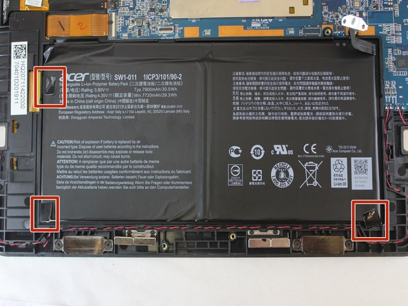 Peel the three shiny black stickers from the battery (top left, bottom right, and bottom left), but keep them attached to the motherboard.