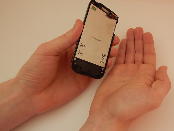 Slowly rotate the phone so the screen falls into your right hand.