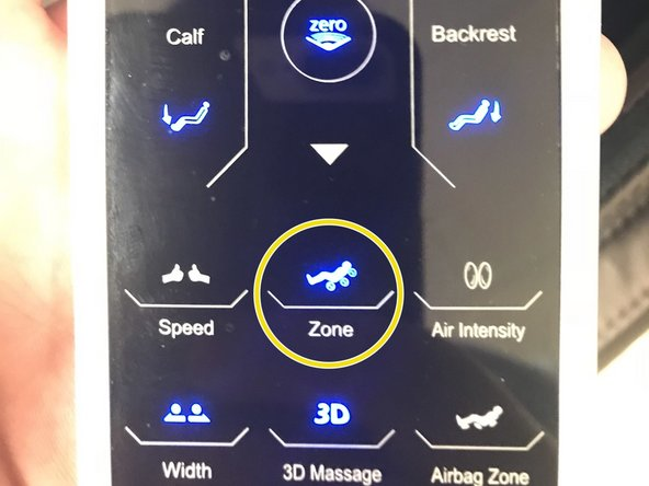 Put the chair into Manual Shiatsu and hit the zone button  2 times , sometimes 1 press. You will know you did it right because the arrows will light up in the middle.