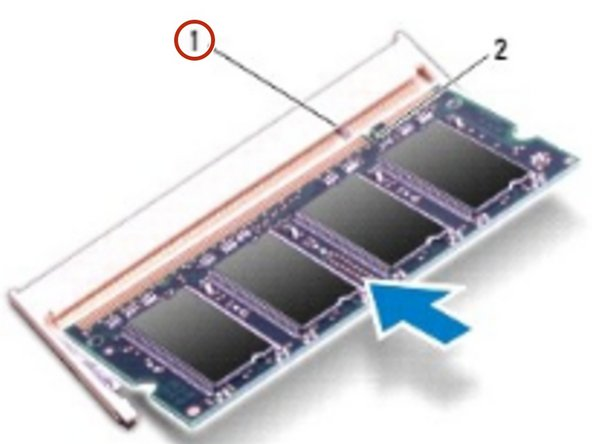 Slide the tabs on the memory-module cover into the slots on the computer base and gently press the memory-module cover into place.