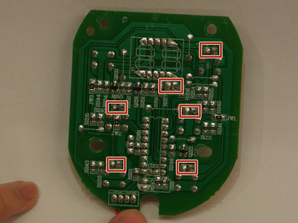 These pictures identify  the LED's along with their corresponding solder points through the back of the circuit board.