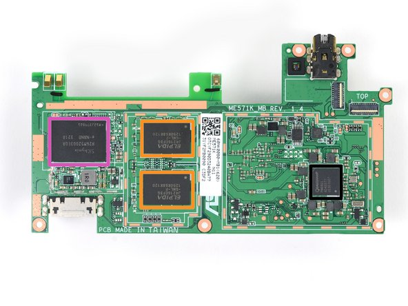 Image 2/2: Elpida [http://www.elpida.com/pdfs/E1922E20.pdf|J4216EFBG|new_window=true] 512 MB DDR3L SDRAM (four ICs for 2 GB total)