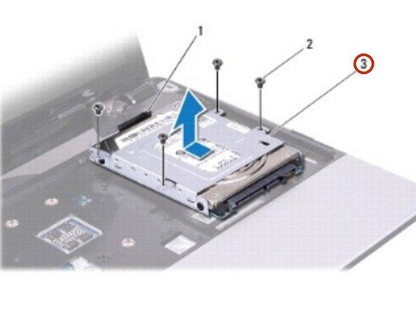 Deslice el conjunto del disco duro para desconectarlo del conector de la placa del sistema.