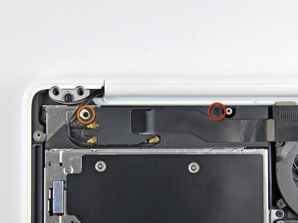 Remove the following screws securing the right speaker assembly to the upper case:
