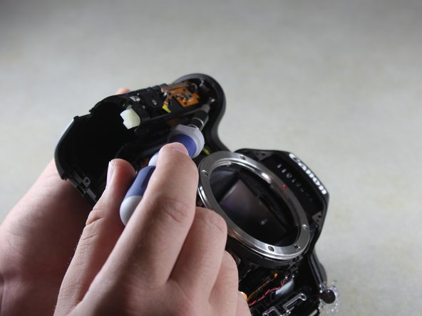 Remove the 4mm Phillips #00 screw from the inside of the top panel, below the shutter button.