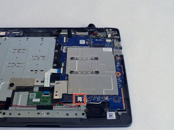 Unplug the speaker connector using tweezers.