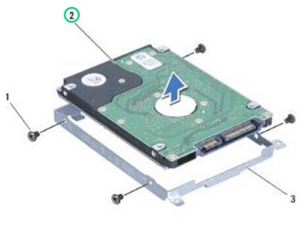 Lift the hard drive out of the hard drive bracket.