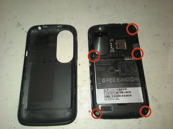 Once the back cover and battery are removed, its time to dissasembly. First unscrew the 5 torx #5 from back side.