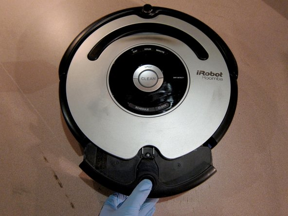 Remove dust bin from Roomba. This will be the first sub-assembly cleaned.