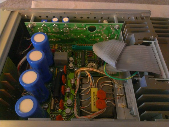 First view of the insides. The large blue cylinders on the left are 490uF 85V Sprague Capacitors  (Made In USA).
