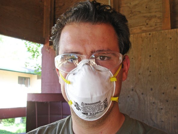 Use the proper safety gear when sanding. Full length clothing, a painter's mask and eye protection should be worn to prevent irritation or injury.