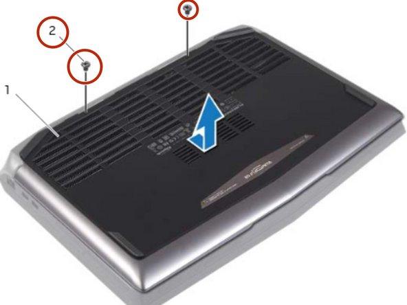 Retire los tornillos que aseguran la cubierta de la base a la base de la computadora.