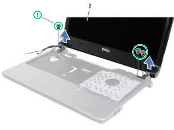 Remove the three screws that secure the display assembly to the computer base.