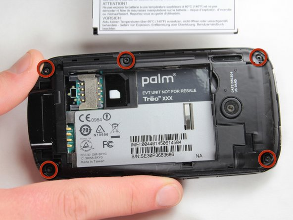 Use the Torx T5 screwdriver to remove the 5 visible 6mm screws on the back of the phone.