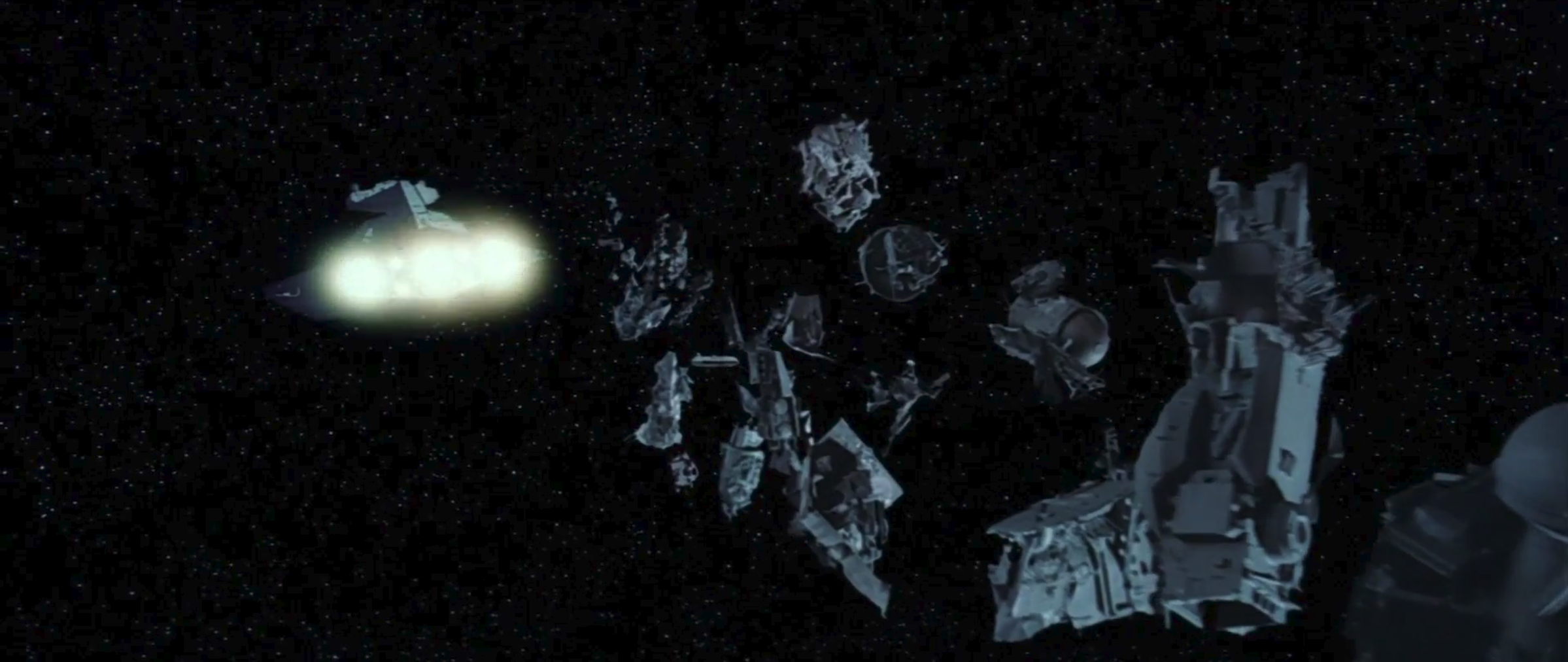 Star Destroyer dumping trash before jump to hyperspeed