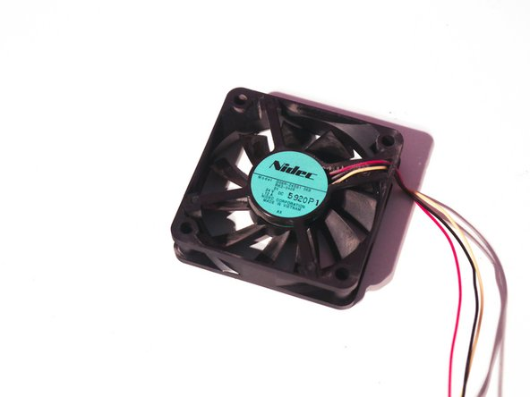 The fan is a standard 24V brushless fan with a speed sensor manufactured by Nidec.