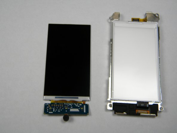 After lifting out the LCD screen, the screen and its housing should be separated as shown.