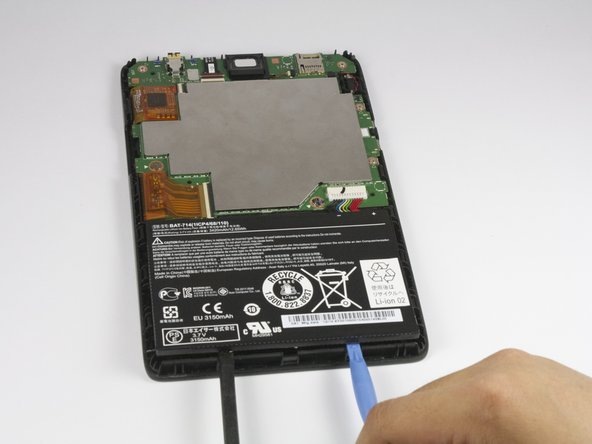 Using the plastic opening tool and spudger, carefully pry up the battery from the case.