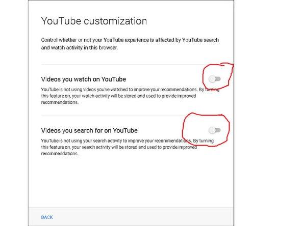 "Turn off ""YouTube Customization"" here!"
