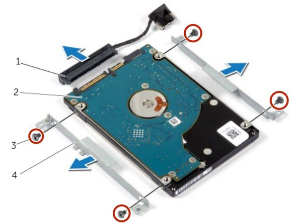 Replace the screws that secure the hard-drive brackets to the hard drive.