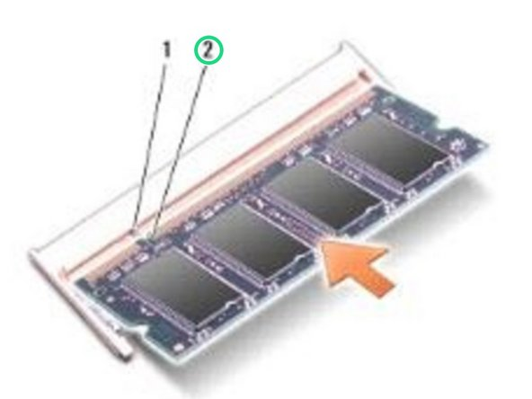 Align the notch in the module edge connector with the tab in the connector slot.