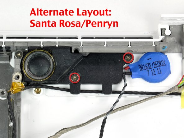 On the Santa Rosa/Penryn models, the screw pattern is slightly different.  See second picture.