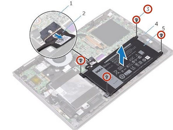 Replace the four screws (M2x3.0) that secure the battery to the palm-rest assembly.