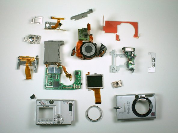 Displayed here are all of the components of the camera.