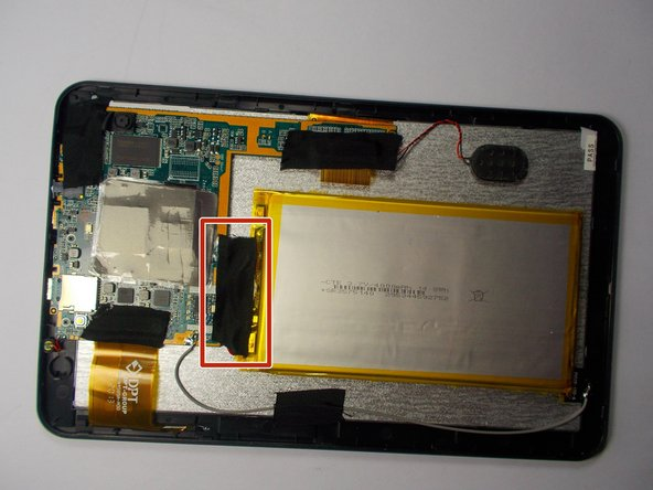 Image 1/2: Do not rip the tape off too fast, as you could damage the red and black wires connecting the battery to the device