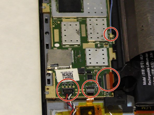 There are several sets of wires connected to the motherboard as shown in the images.  Carefully disconnect each set of wires.