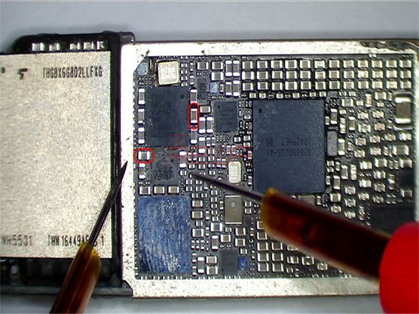 Get the logic board booted up. Run voltage measurement of baseband PMU test points C5623 and C5631. Nothing goes wrong.