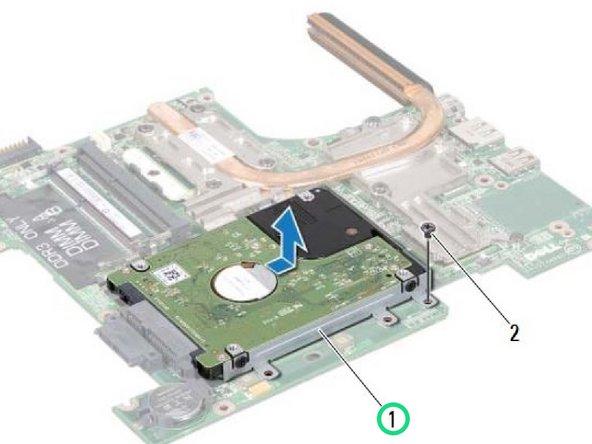 Deslice el conjunto del disco duro en la dirección que se muestra en la ilustración para desconectarlo del conector de la placa base.